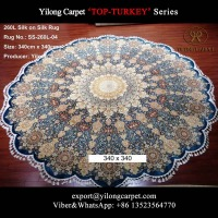 TOP TURKEY Handmade large round rug 340x340cm Art modern persian silk carpet