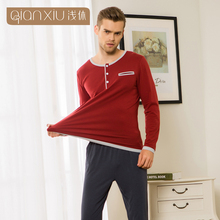 Hot Selling Qianxiu Long Sleeve Kint Cotton Comfort Pullover Adult Sexy Men Nightwear