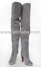 2012 women thigh high suede boots, handmade ladies genuine leather shoes, high heel over the knee boots