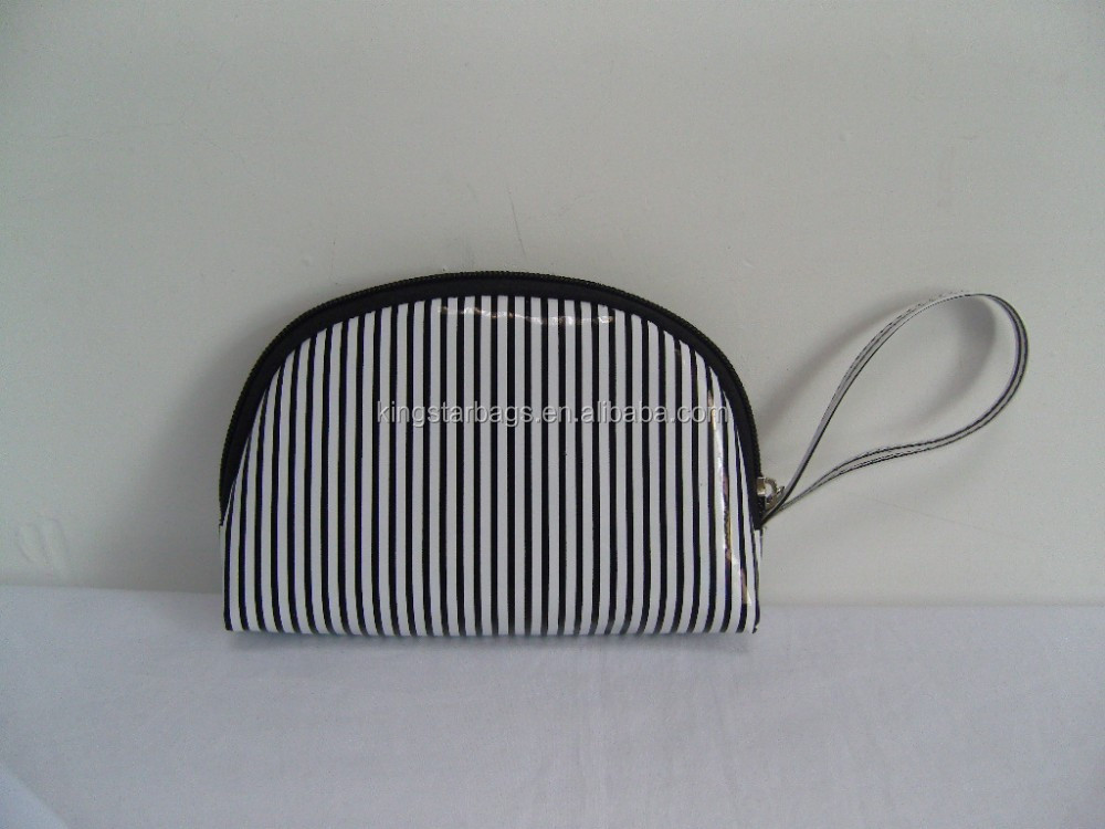 Shiny PVC zebra-stripe makeup beauty case