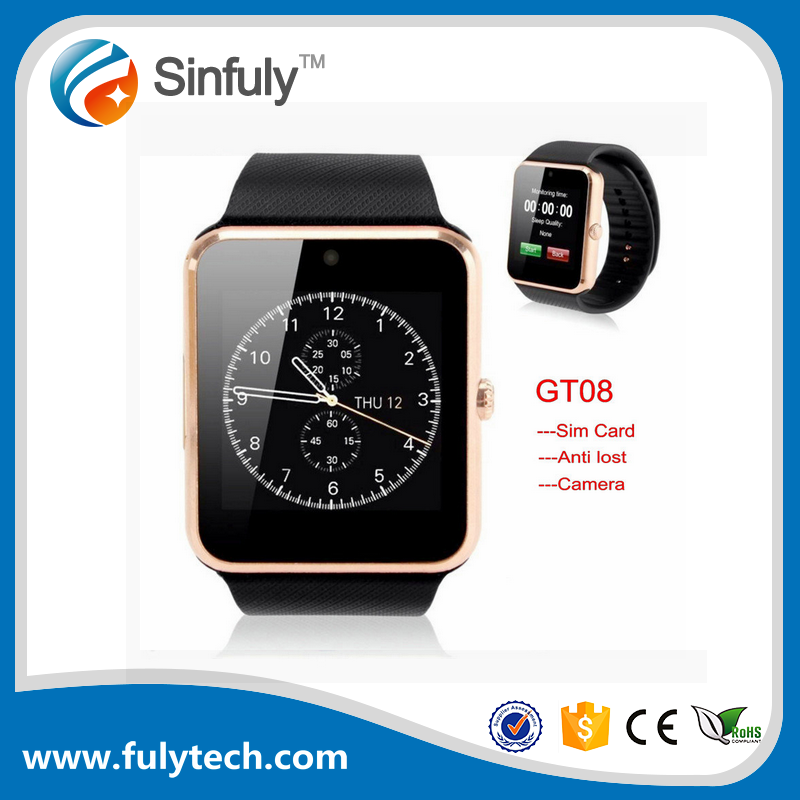 Bluetooth Smartwatch CE ROHS Sim Card Support Bands Smart Watch gt08