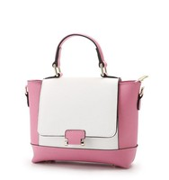 fake leather contrast color ladies hand bag