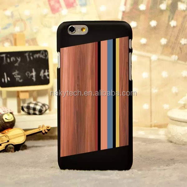 Natural wood + black plastic PC mobile phone cases for iphone 5 5s real Solid Natural Bamboo Wood Wooden Cherry