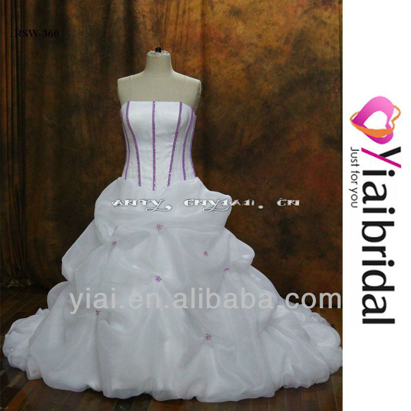 RSW360 Purple And White Wedding Dresses