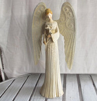 European beauty resin angel with flower first holy communion souvenir