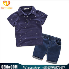Wholesale children clothing fashion wear 3-8years kids boy clothing sets shirts+jeans pants 2pcs baby clothes sets