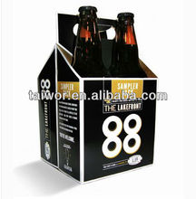 Custom cardboard wine carrier box 4 pack paper beer carrier box
