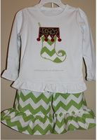 2015 girls fall boutique clothing wholesale baby cotton outfit 2 pc ruffel set children clothes