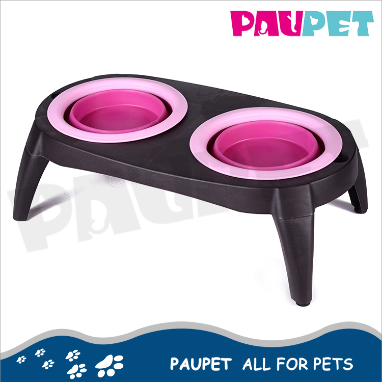 Wholesale portable eco friendly double pet feeder collapsible dog bowl