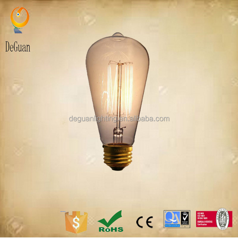 40W handmade decorative lamps antique decoration lamp ST64 E26 230V Clear or little yellow 13Anchor edison light bulb