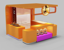 Shopping mall fast food kiosk design with retail store display stand