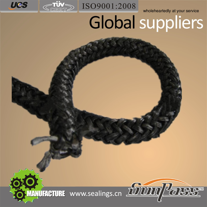 High Temp. Resistance Expansion Joints Customized Heat Shield Prevention Black Knitting Fiberglass Rope