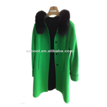Direct Factory Price Double-Faced Fabric Women Coat With Fur Collar