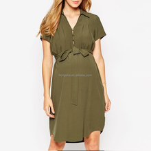 Maternity Clothes Pregnant Women Green Shirt Dress With Drape Front HSD1249