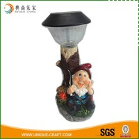 Spring Outdoor Friendly Solar Light Fishing Resin Elf Garden Statues