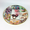 Cheap Round Plastic Food Serving Tray with Gold Rim