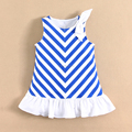 MOMANDBAB NEW ARRIVAL Kids Dress Girls Kids Clothing Summer Kids Blue White Striped Dress