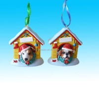 Hanging pet house unique resin dog ornament for chirstmas