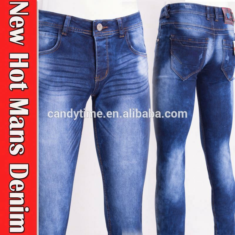 Blue color latest design high waist jeans for man