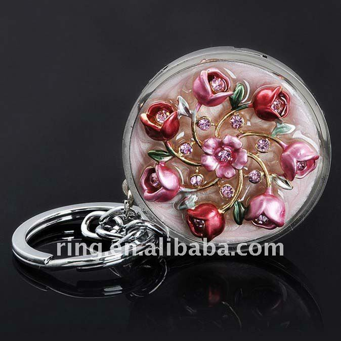 Crystal small flower lady business gift handbag table hook keyring keychain for gifts