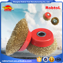 "5"" steel wire cup brush wheel twist knot crimped bowl disc abrasive round grinding cheaning brush"