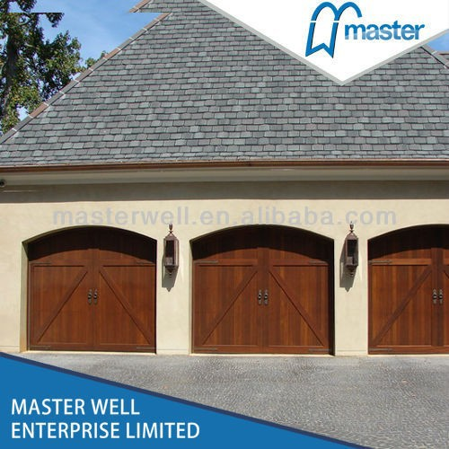 Residential Insulated Solid Wood Brown Color Garage Door