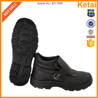 Black India imported embossed leather welder styles safety boots, genuine leather safety shoes