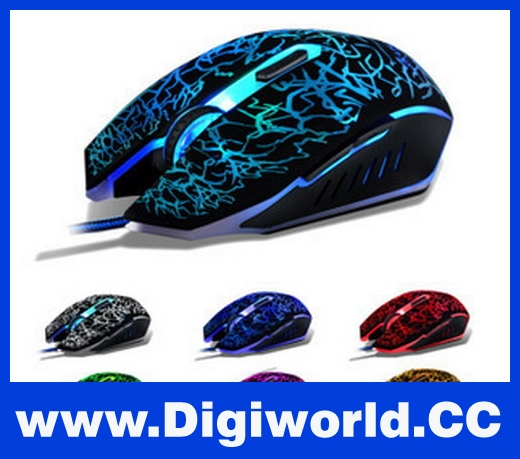 USB Wired Optical Game Gaming Mouse Mice 2400 DPI LED 7 Color Light LED PC CS
