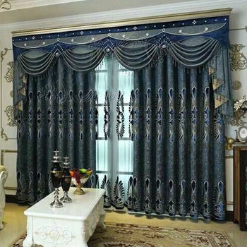 Luxury European Style Fancy Blackout Fabric Living Room Curtains