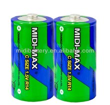 R14 C zinc carbon battery made in China