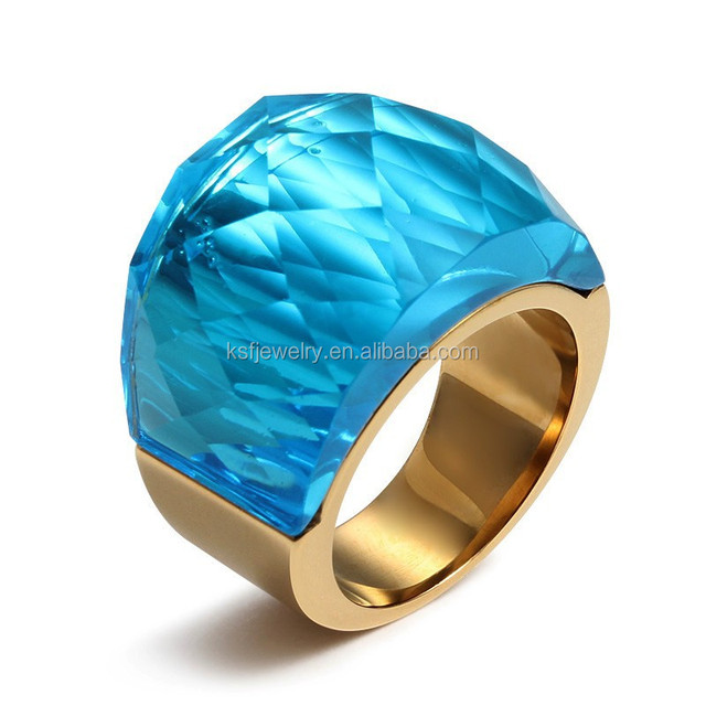 Elegant Zircon Stone Stone Fashion Ring Sapphire Stainless Steel Chunky Ring