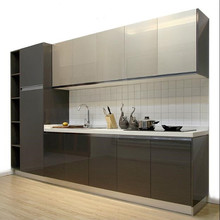 High gloss pvc kitchen cupboard cabinet modern designs for small kitchens