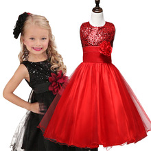 2017 Flower Mixed Spinning Cotton Lace Sleeveless Girls Formal Dress with Shining Disc 2Y-7Y Kids
