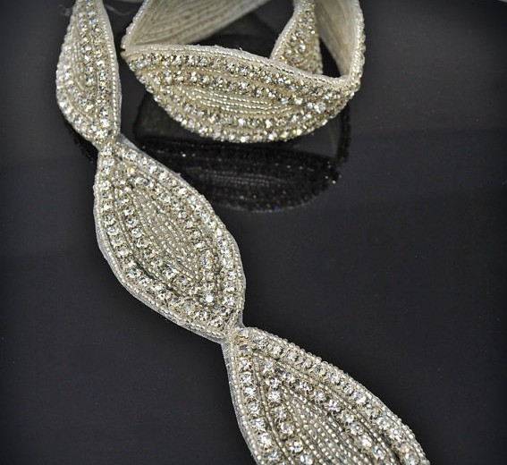 custom handmade fashion rhinestone crystal bridal trim for wedding dresses sash belt/headband patch