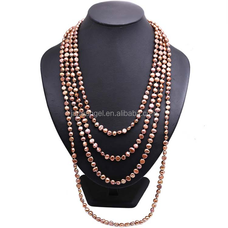 Brown 7-8mm Freshwater Cultured Potato Shape Pearls Necklace <strong>100</strong> inches
