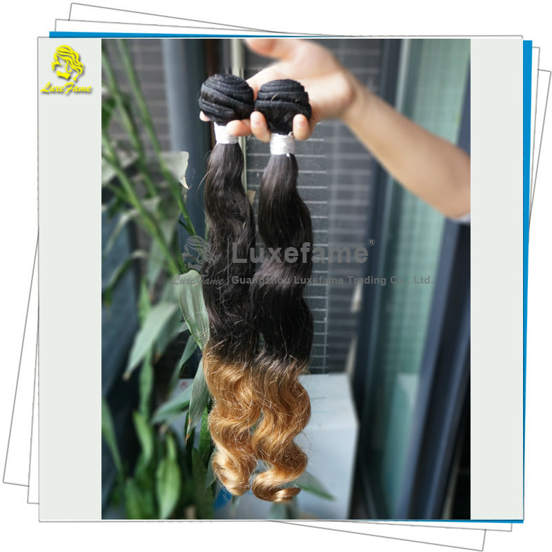 Aliexpress store shiny color 1b and 27 two tone ombre remy hair extension