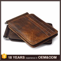 Mens Card Purse Pocket Billfold Leather Wallet with Money Clip