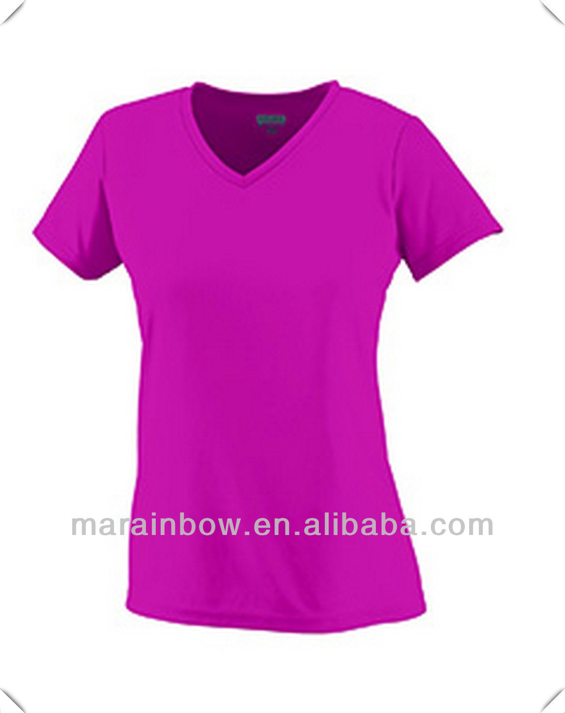 Girls 100% polyester wicking T-Shirt with Heat sealed label,V neck collar,Double needle hemmed sleeves and bottom