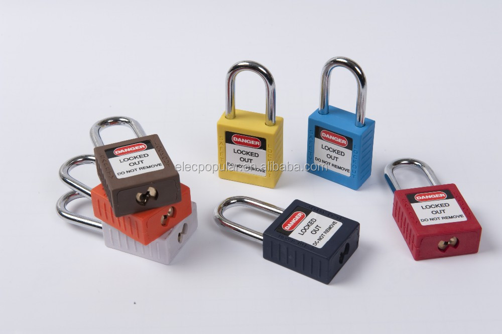 manufacturer!nylon safety padlock with short and long steel shackles,CE certificated