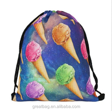 3D Printing Polyester Backpack Women Strong Drawstring Bag