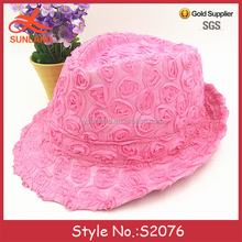 S2076 hot sale handmade rose flower pattern trilby caps purple fedora hats for women wholesale