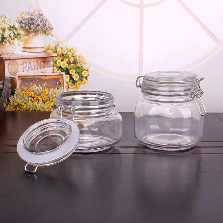 813ml 855ml 1088ml glass jar with glass clip lid wholesale for jam honey storage
