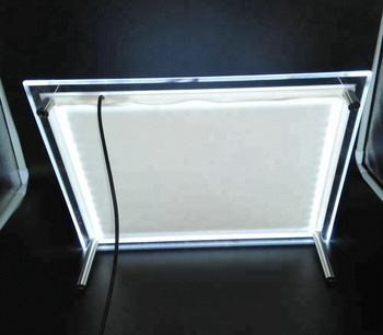 Background lighted acrylic table tent A4 size stand on table 12v power