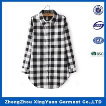 Top quality manufacture black/white plaid flannel shirt men/women