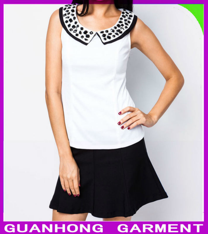2014 Latest Women Casual Tops with White Cobblestone Flat Collar