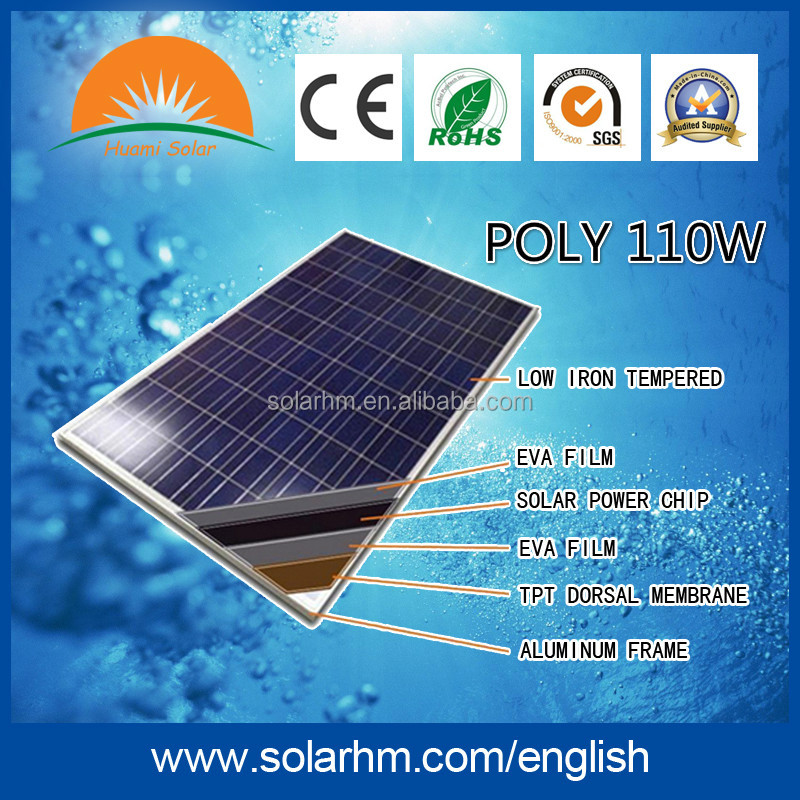 HOT SALE !110W Poly solar panel with CE TUV EL test for solar system