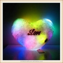 Lovely Soft Heart Shape Colorful LED Night Light Pillow Doll Toy Stuffed Animals