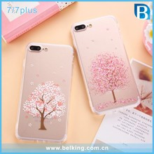 Sakura Acrylic Clear TPU Phone Case For iPhone 7Plus, Transparent Flower Mobile Cover for iPhone 7, For iPhone 7 Case