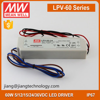 Meanwell LED Driver 60W 24V 2.5A LPV-60-24 Waterproof LED Power Supply 24 Volt