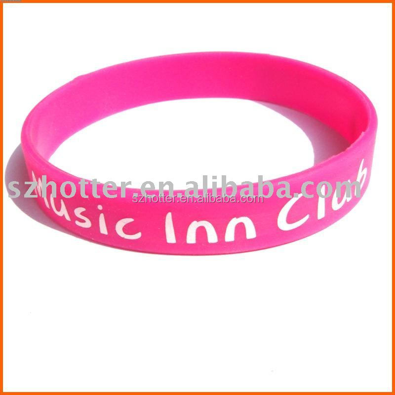 silicone custom texts &logo rubber wristbands